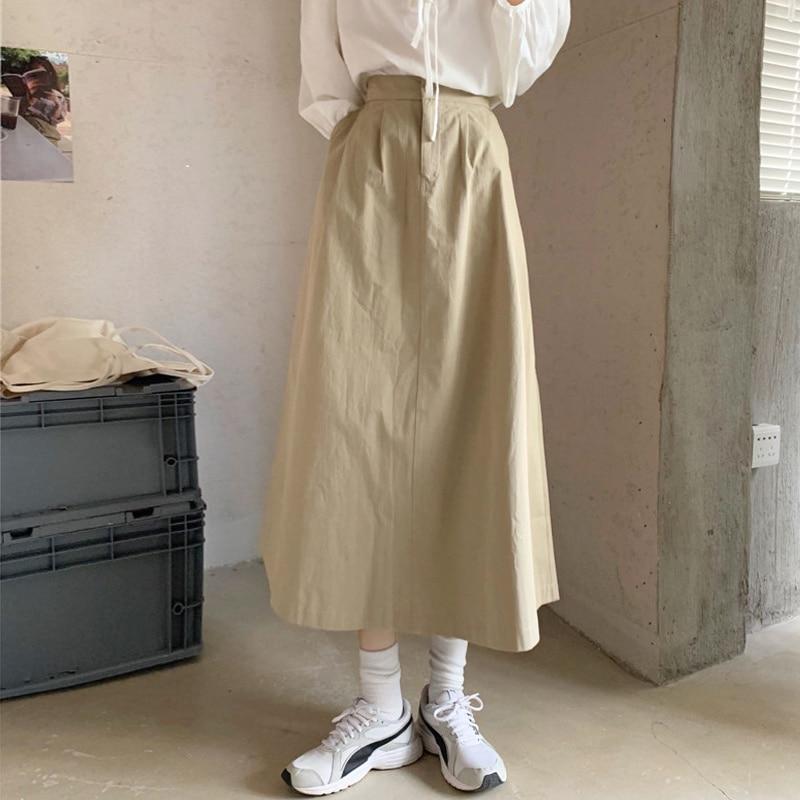 High Waist Slim Skirt Women's Spring Autumn 2021 New Tooling A-shaped Medium Length Skirt Casual Vertical Skirt