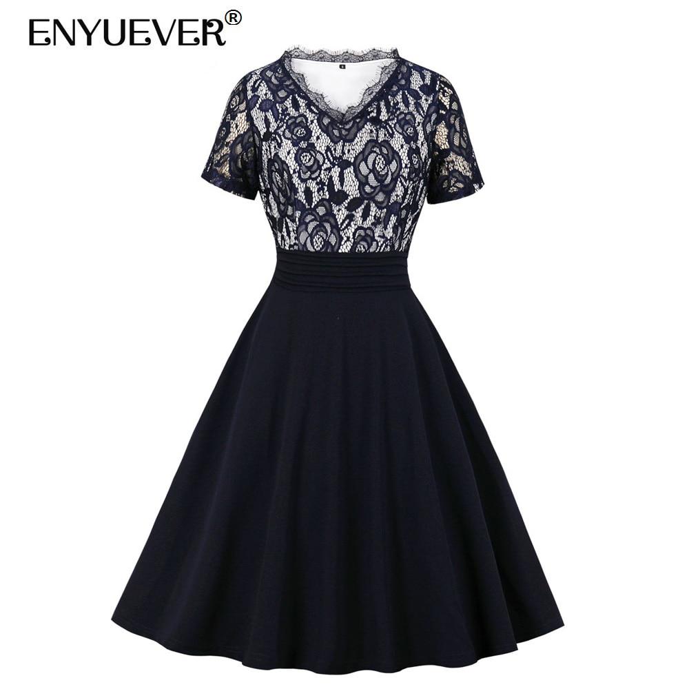 Enyuever Elegant Navy Blue Women Dress V Neck Short Sleeve Folds Waist Lace Patchwork Robe Pin Up Swing Evening Ladies Dresses