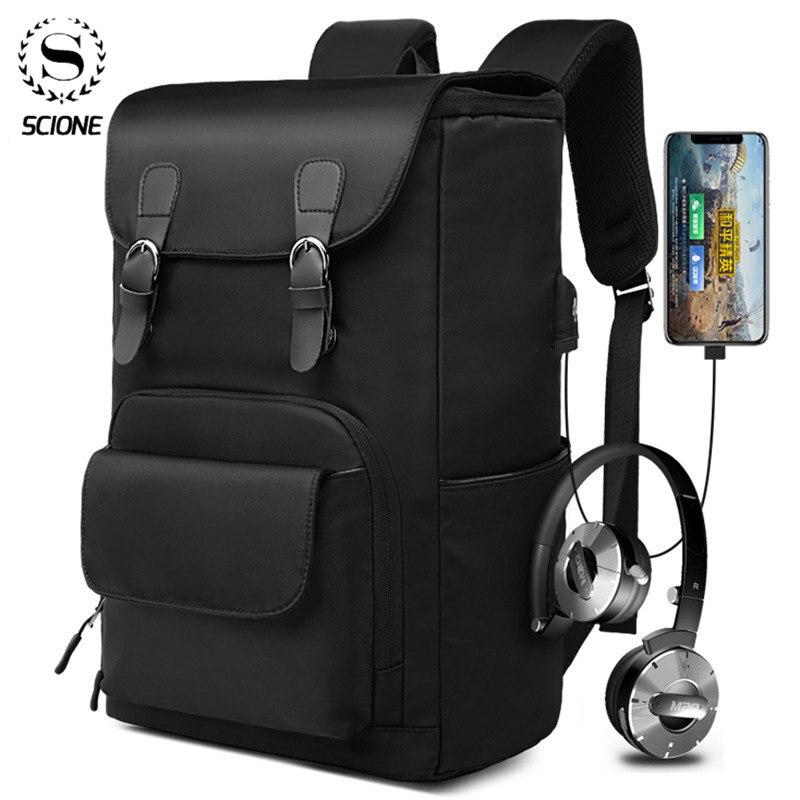 Mochila Scione para ordenador portátil, para hombre, para negocios, Mochila, Mochila impermeable, Mochila con carga USB, Mochila de viaje