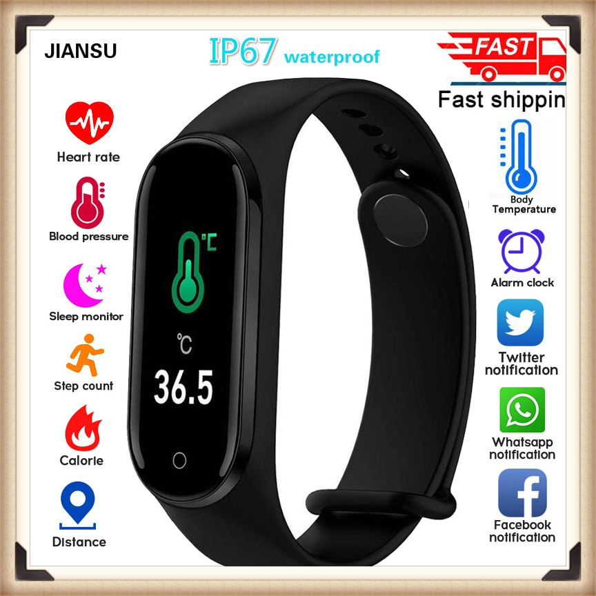 Nuevo reloj inteligente de temperatura corporal M4pro pulsera para mujer, resistente al agua Ip67, seguidor de actividad/deporte, presión arterial
