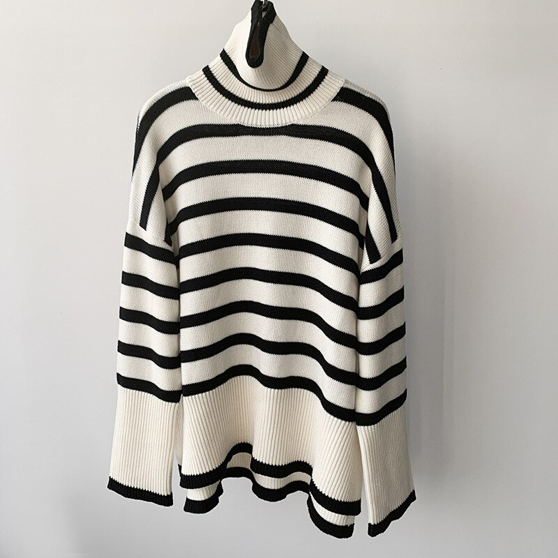 Women Sweater 2021 Autumn and Winter High Neck Knitted Striped Slit Sweater Simple Irregular Loose Top enlarge