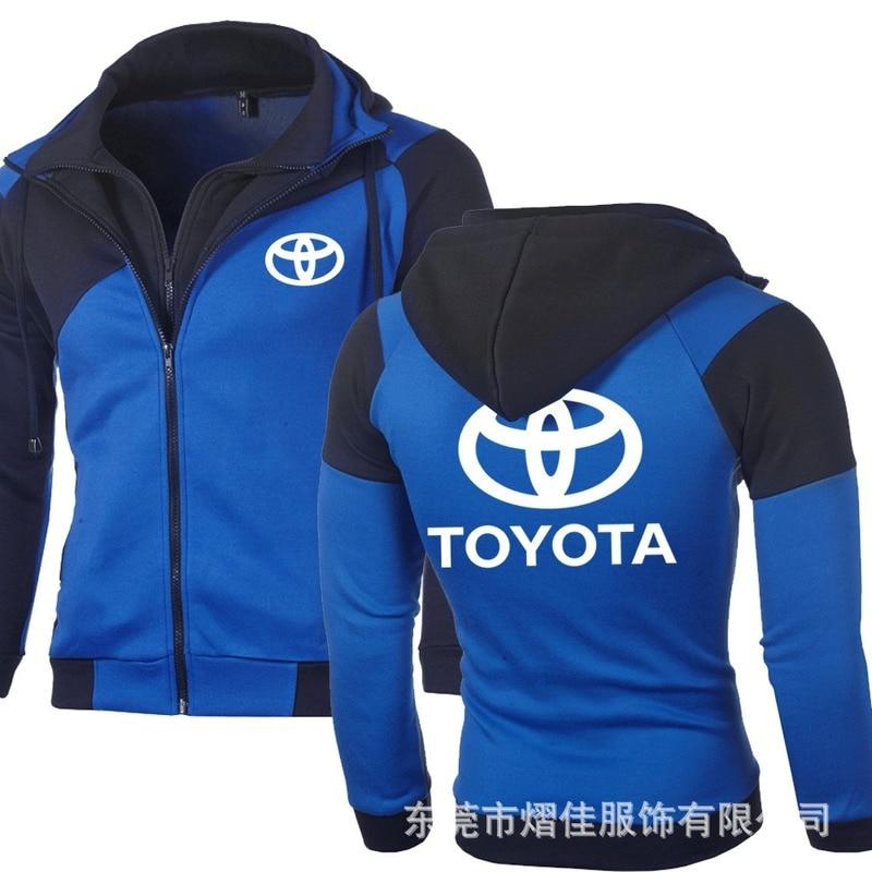 NEW TOYOTA Logo Sweatshirt Men Casual Jacket Double Zipper Cotton Hoodie Coat Jacket Men Sports Wear