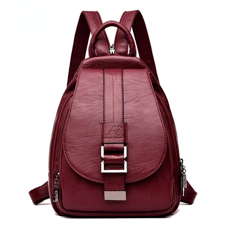 Winter 2021 Women Leather Backpacks Fashion Shoulder Bags Female Backpack Ladies Travel Backpack  School Bags for Girls
