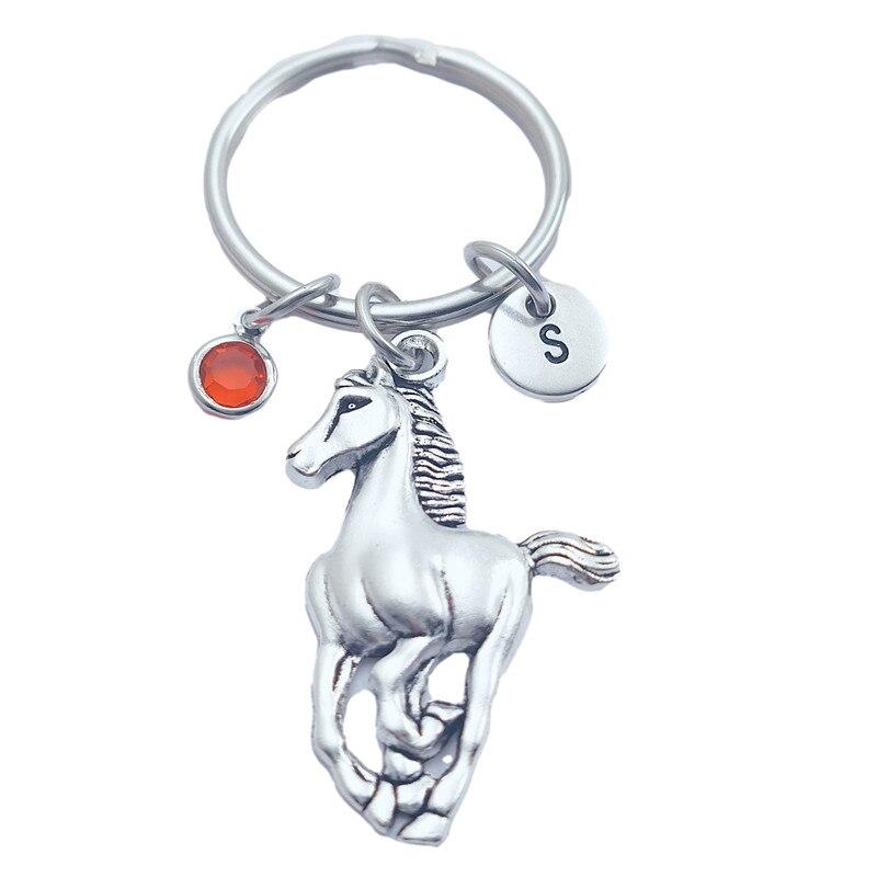 Новые брелоки Vinteage с животными, лошадью, креативные брелоки с буквами инициала, монограммой, камнем рождения, модные ювелирные изделия, пода...