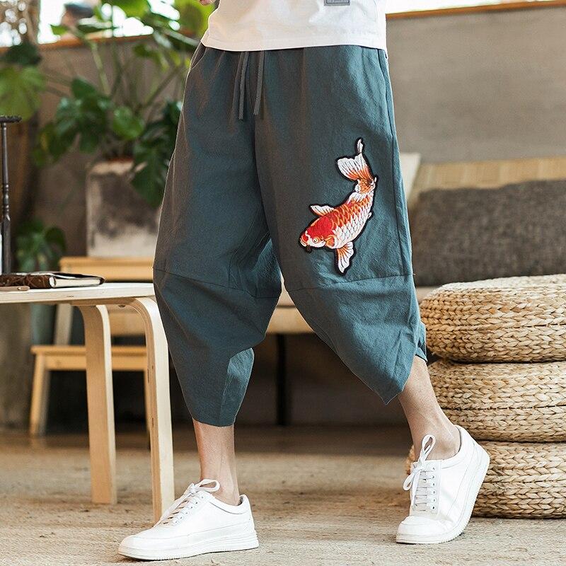 Men Sweatpants Casual Wide Leg Trousers Men Chinese Style Cotton Linen Harem Jogger Pants Men Calf-Length 2021 Summer