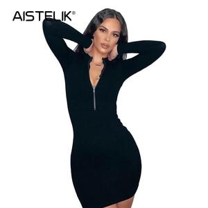 AISTELIK 2020 women's summer and autumn hot style dress new long-sleeved V-neck letter printing temperament slim dress