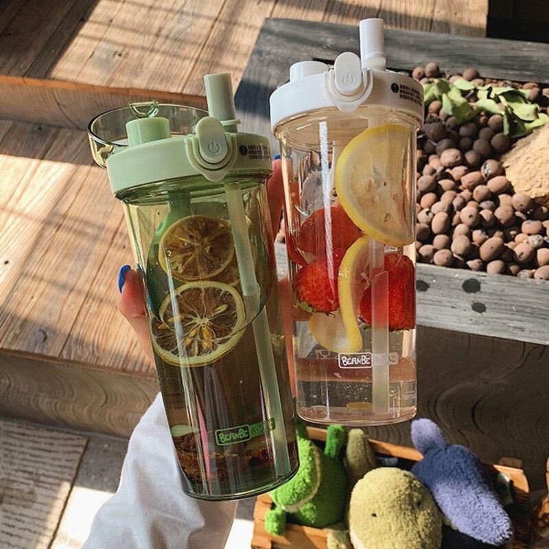 Botella de agua de 420/520ml con tapa, botellas de agua transparentes de plástico, tipo pajita, botella deportiva, botella escolar para estudiantes