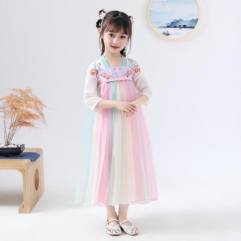 Hanfu moderno vestido de verano de estilo chino para niñas Han/Tang Dynasty tradicional disfraz de hada antigua Cosplay para niños Hanfu DQL2258