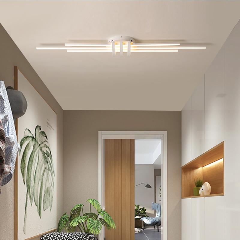Black and white geometric aluminum art simple modern living room lamp bedroom corridor led ceiling lamp enlarge