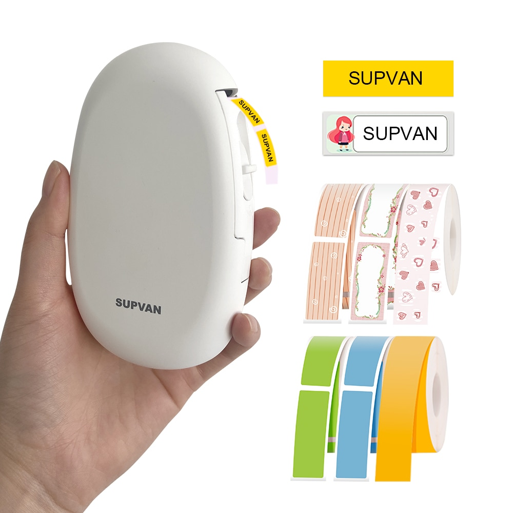 Supvan طابعة تسمية لاسلكية صغيرة ملصقا الطابعات مع لصيقة علامة بلوتوث تسمية صانع المحمولة طابعة حرارية للملصقات E10