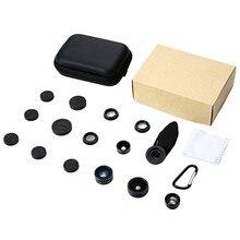 9 En 1 Kit de lente de teléfono móvil gran angular Micro ojo de pez telefoto caleidoscopio lente Portable Case