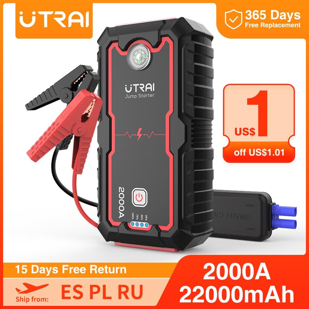 UTRAI 22000mAh/16000mah Car Jump Starter Power pack Portable Car Battery Booster Charger 12V Starting Device Diesel Car Starter