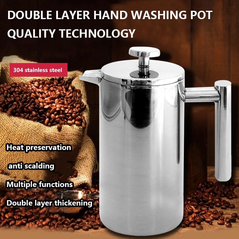 Filtro pote de café dupla isolamento térmico bule de chá filtro imprensa pote de aço inoxidável europeu isolamento térmico pote chá conjunto