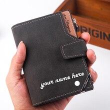 Mode hommes portefeuilles courts personnalisé gravé nom cadeau personnalisé pour les hommes lui porte-carte sac à main portefeuille avec fermeture à glissière poche à monnaie