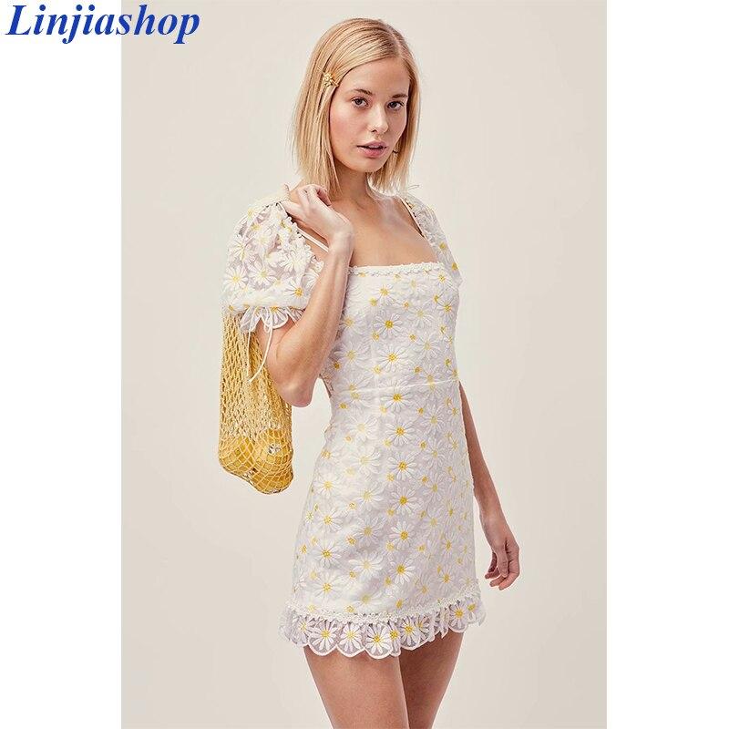 Minivestido de verano para mujer, con bordado Floral, suave, con cremallera en el lazo trasero, bordado Floral