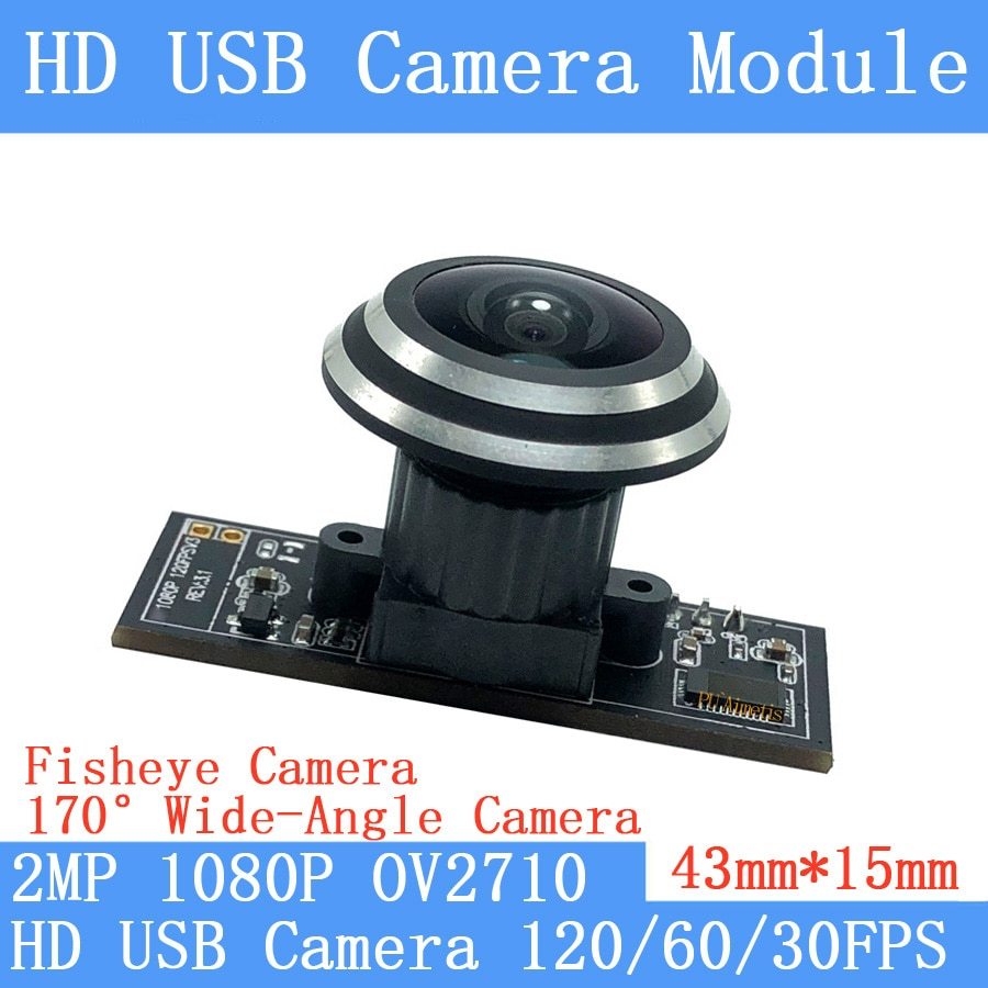 Módulo de cámara USB con ojo de pez de 2MP de gran angular de 170 °, OV2710, 1080P, MJPEG, 640x480, 120fps, cámara web de alta velocidad Linux, UVC, cámara de vigilancia
