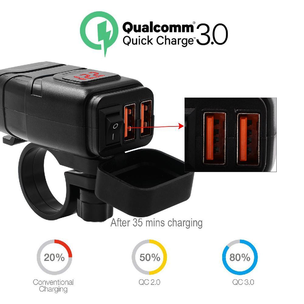 Motocicleta doble USB carga súper rápida + voltímetro a prueba de agua QC 3,0 carga rápida 12V voltímetro soporte de montaje