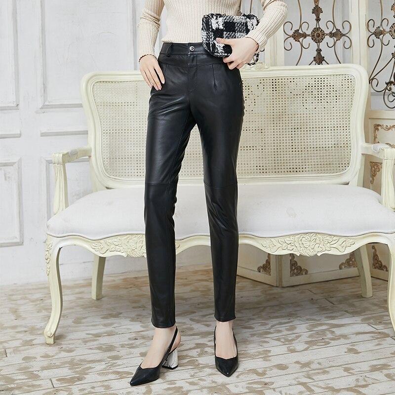 Genuine Leather Pants 2021 New Women's Sheepskin Pants High Waist Casual Pants Slim Leather Pants Women Pencil  Trousers