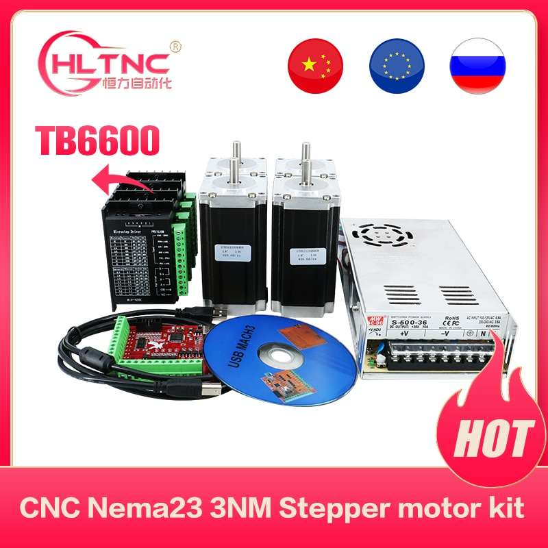Big promotion CNC electronic kit 4setTB6600 stepper driver+ NEMA23 3Nm DC motor+350W 36v powersupply+Mach3 4 axis board for CNC