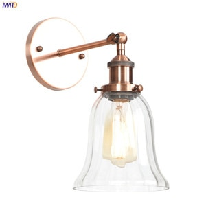 IWHD Loft Industrial Retro Wall Lights For Home Bedroom Mirror Stair Light Glass Vintage Wall Lamp Sconce LED Applique Murale