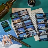 3pcs 8 design film stickers the view of the city stickers diy decorative collage notebooks diary album creativity stationery