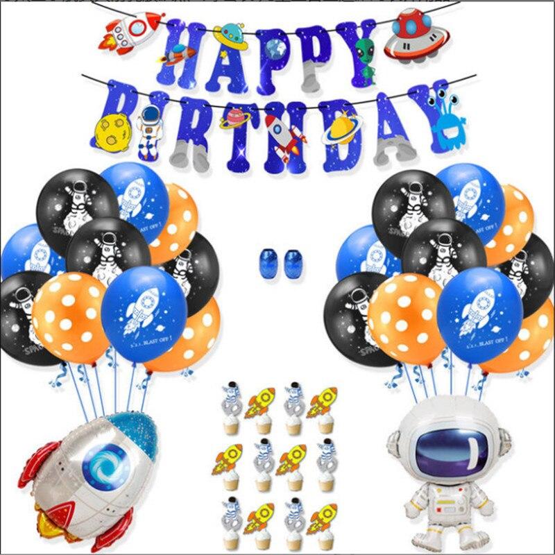 12 inchspace festa astronauta foguete balão de folha galáxia tema festa de aniversário festa de aniversário decoração balão de hélio