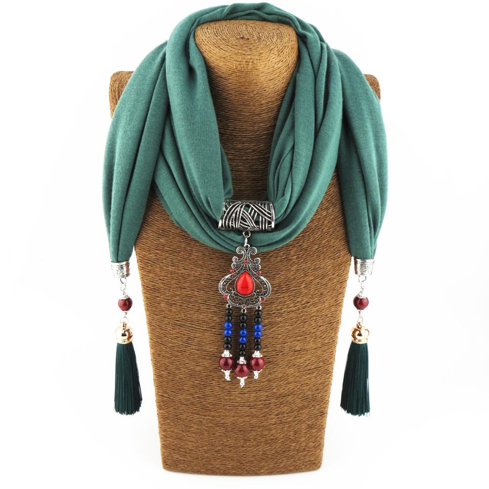 Женский шарф с подвеской, ожерелье, бижутерия для обертывания, модные хлопковые шарфы, женская уличная шаль с драгоценным камнем, бижутерия ...