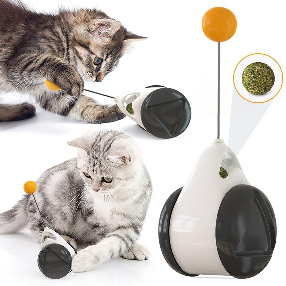 Brinquedo de gato de estimação gato inteligente interativo bolas brinquedos interativos brinquedo de gato rotativo interativo com rodas gato jogando catnip brinquedos para animais de estimação suprimentos