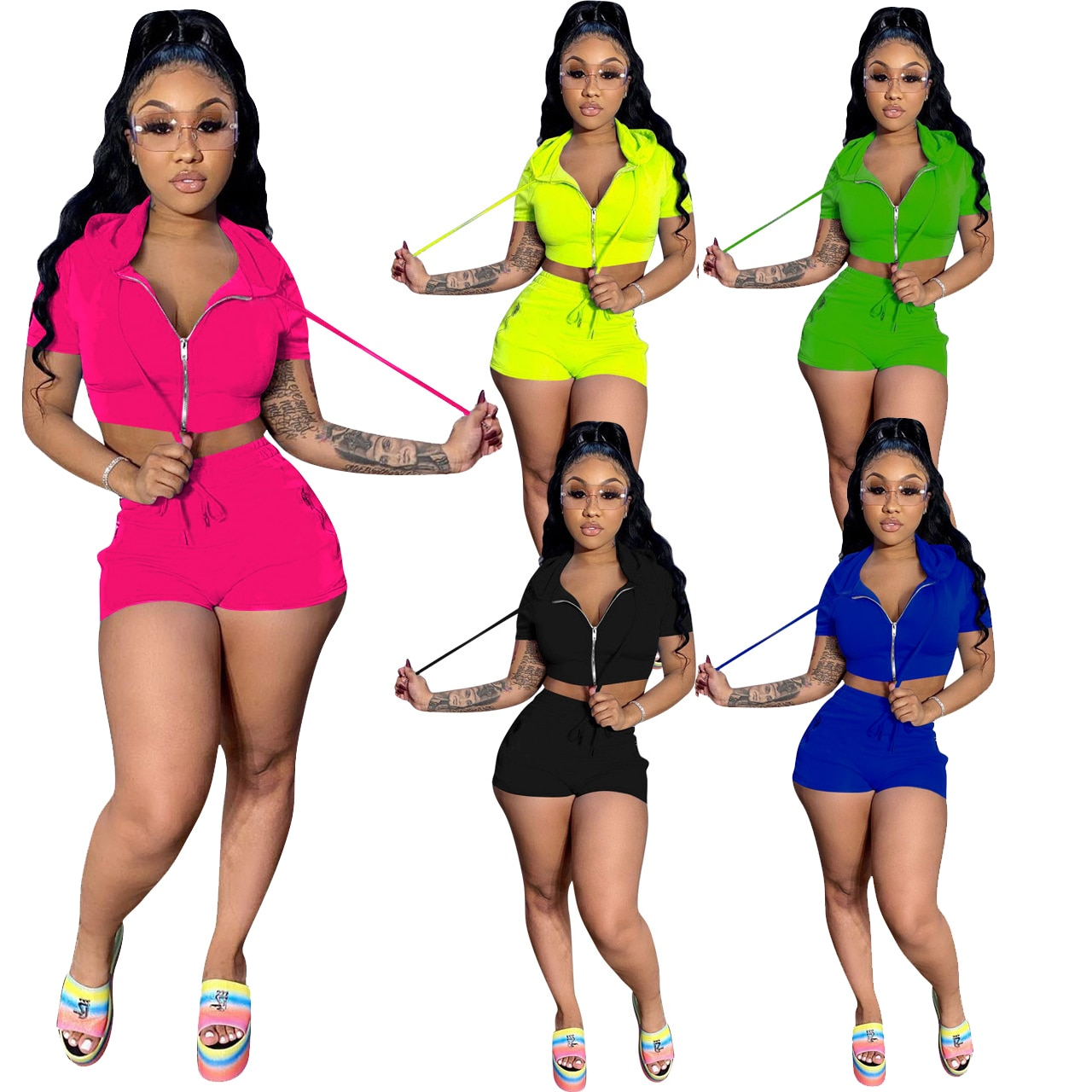 Solid Color Sports Suit Hooded Crop Top Shorts Spring Summer Vintage Clothing High-Waisted Two Piece Set Ladies 2021 For Women'S
