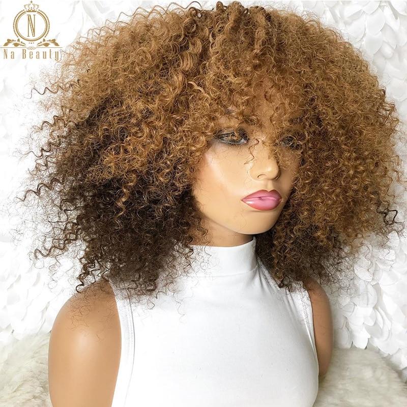 Nabeauty-شعر مستعار أفرو طبيعي ، شعر مجعد ومجعد ، لون أشقر عسلي 99J ، أحمر وأسود ، مظلل ، 150% ، 13 × 4