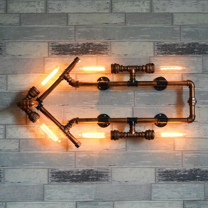 Vintage hierro decoración de la pared tubería de agua Luz de pared para corredor Bar Indicador de pared Wandlamp flechas Industrial lámpara de estilo de viento Luminaria