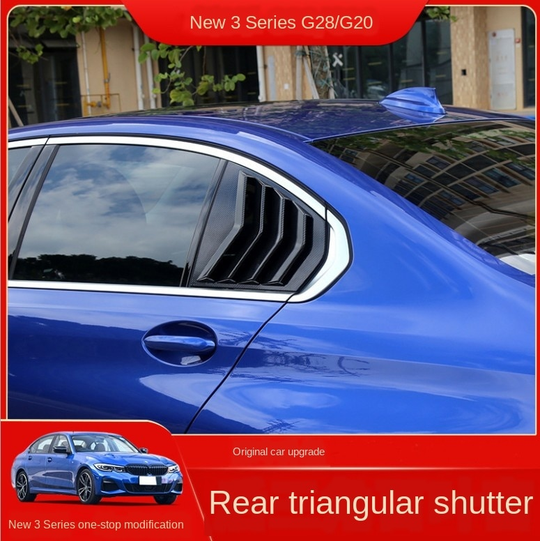 Car Styling Rear Window Louvers Triangle Shutter For BMW 3 Series G28 G20 Decoration Cover Sticker Trim Carbon Fiber Accessories
