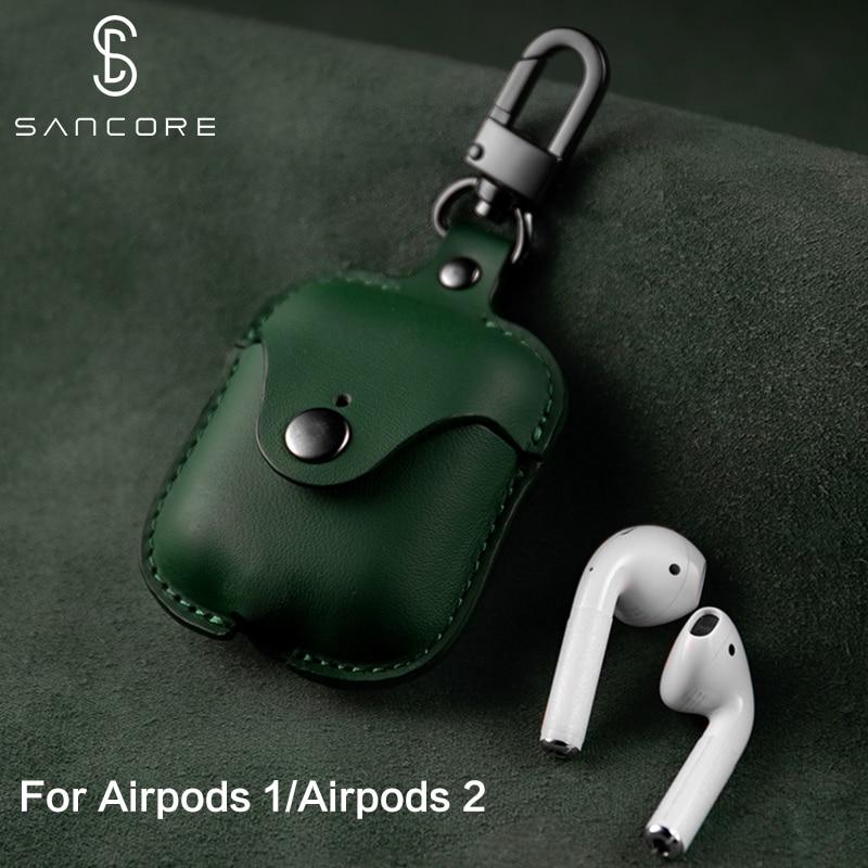Sancore nappa couro caso do fone de ouvido para apple airpods 1/2 pro caso capa protetora luxo para airpods acessórios fasion