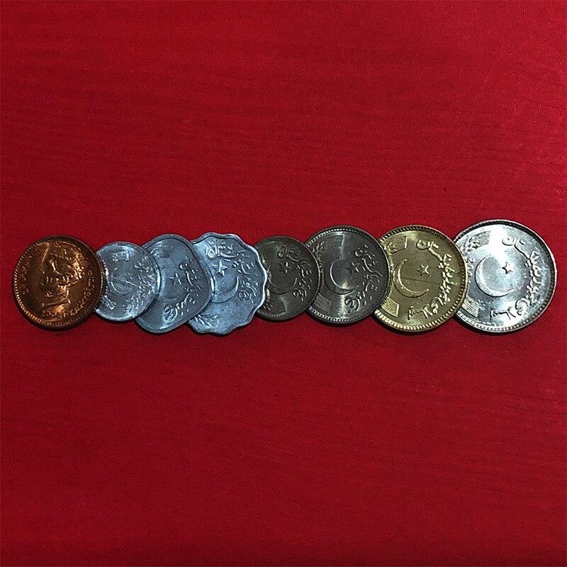 Juego de 8 Uds de monedas, Pakistan 1976-2006 Original genuino, regalo de colección