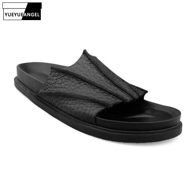 نعال من الجلد الطبيعي الفاخر للرجال ، أحذية صيفية ذات ثنيات ، أحذية خارجية ذات منصة سميكة ، عصرية