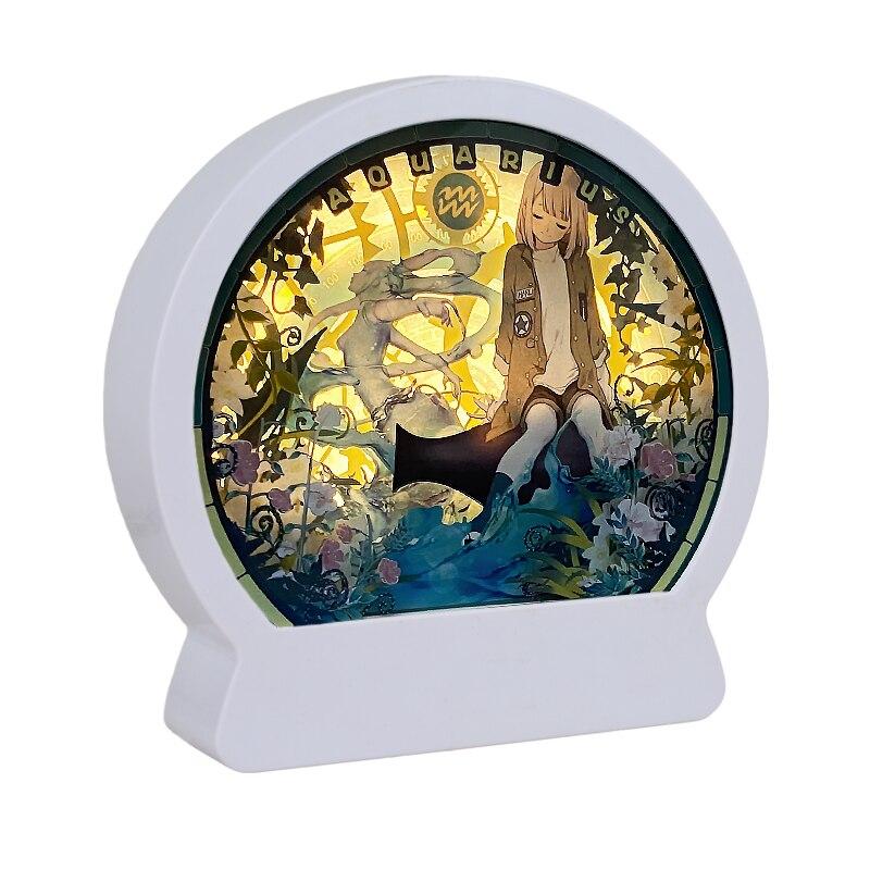 Festa de aniversário itens de presente de fábrica quadro de imagem 3d sombra caixa de luz led noite 3d papel corte caixa de luz com estilo aquário