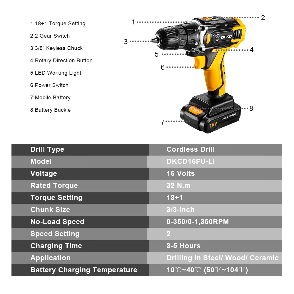 12V / 16V / 20Vコードレスドリル電動ドライバー、18 + - パワーツール - 写真 4