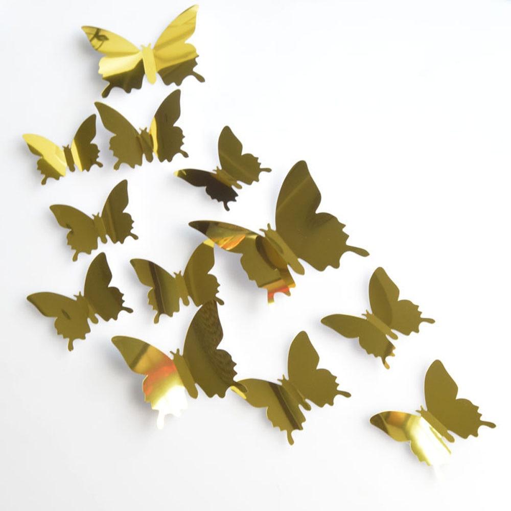 Espejo de plata de mariposa para decoración de hogar para habitaciones, pegatinas...