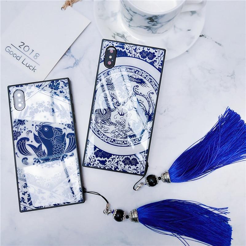 Para iPhone 11 Pro Max 6 6s 7 8 Plus X XS Funda de lujo China Azul-Blanco porcelana vidrio templado cubierta teléfono Correa parachoques Funda