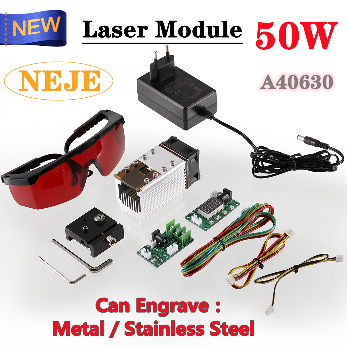 NEJE New 50W A40630 Laser Module Kits for CNC Laser Engraving Machine Wood Cutting Machine Can Engrave Metal/Stainless Steel