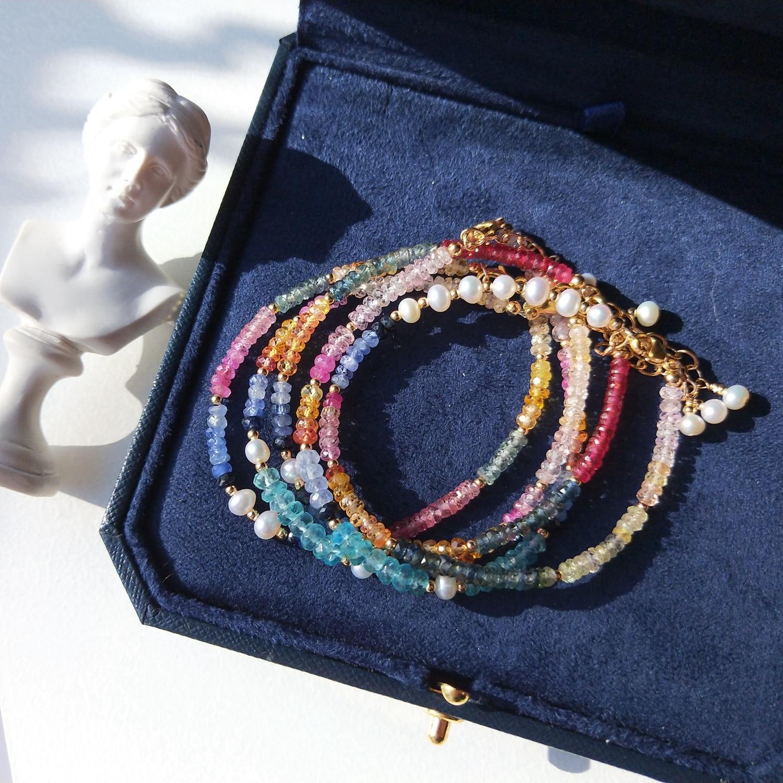 Lii Ji الأحجار الكريمة الياقوت الأباتيت اللؤلؤ 14K الذهب شغل الطبيعية متعددة حجر سوار 16.5 + 3 سنتيمتر للنساء هدية