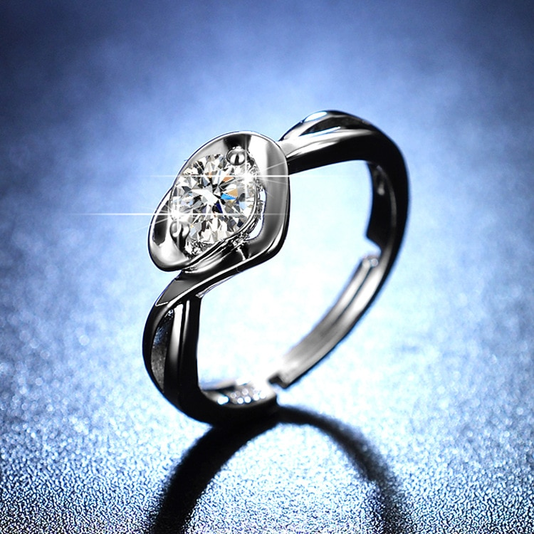 925 Sterling Silver Ring Heart Love Jewelry Diamond Rings for Women Resizable Rings Wedding Ring