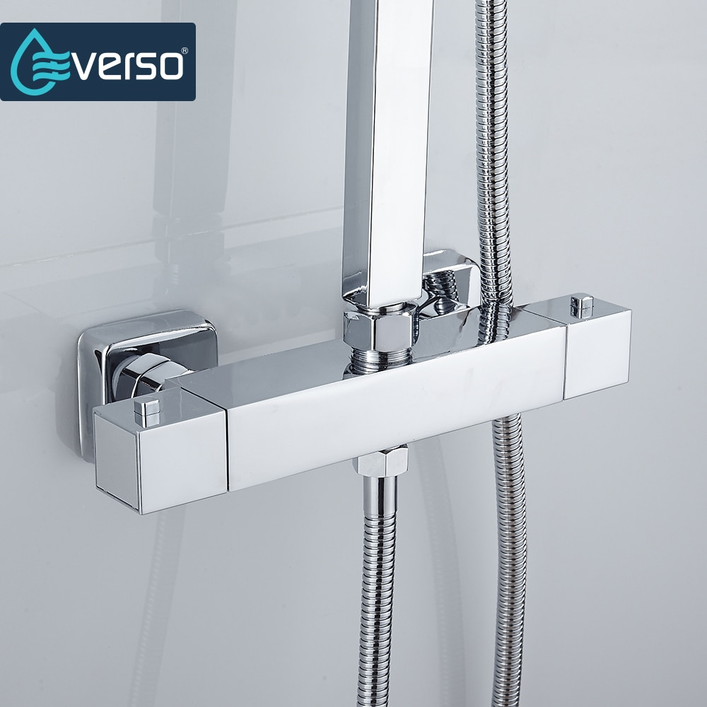 EVERSO Thermostatic Mixing Valve Bathroom Shower Set Thermostatic Control Shower Faucet Shower Mixer