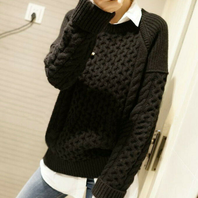 Winter Fall Women's Cashmere Pullover Knitwear Sweater Jumpers Casual Loose Tops enlarge