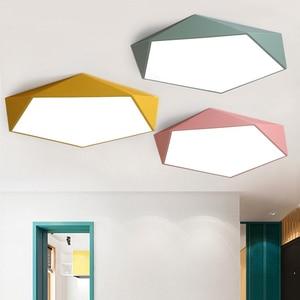 Nordic geometric polygon wrought iron led bedroom ceiling lamp living room lighting restaurant multicolor lamp