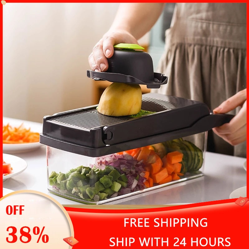 Vegetable Cutter Fruit Slicer Multifunctional Grater Shredders Drain Basket Peeler 8 In 1 Gadgets Kitchen Accessories Tool