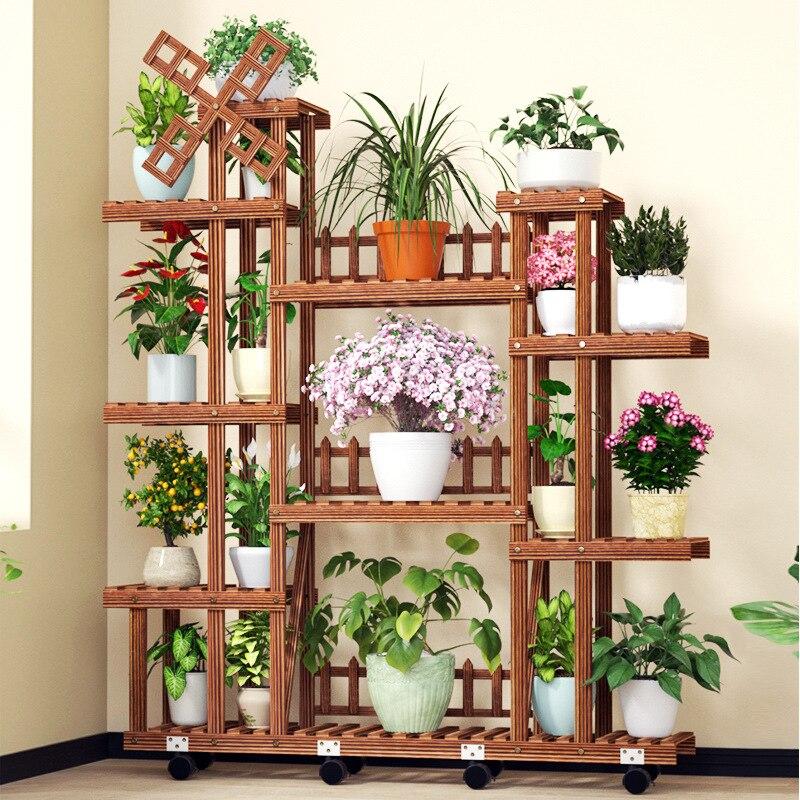 المنزلية شرفة خشب متين حامل زهور 4-layer ارضيات داخلية الأخضر الفجل الجرف المنظم موضة الرعوية زهرة حامل أوعية