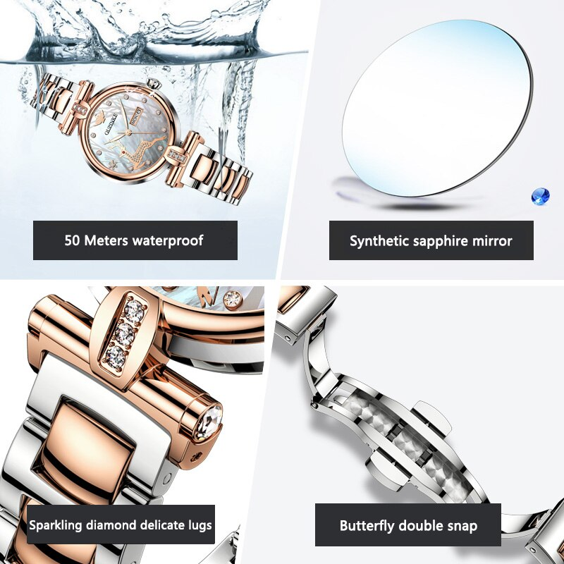OUPINKE watch ladies mechanical watch simple temperament fashion light luxury waterproof enlarge