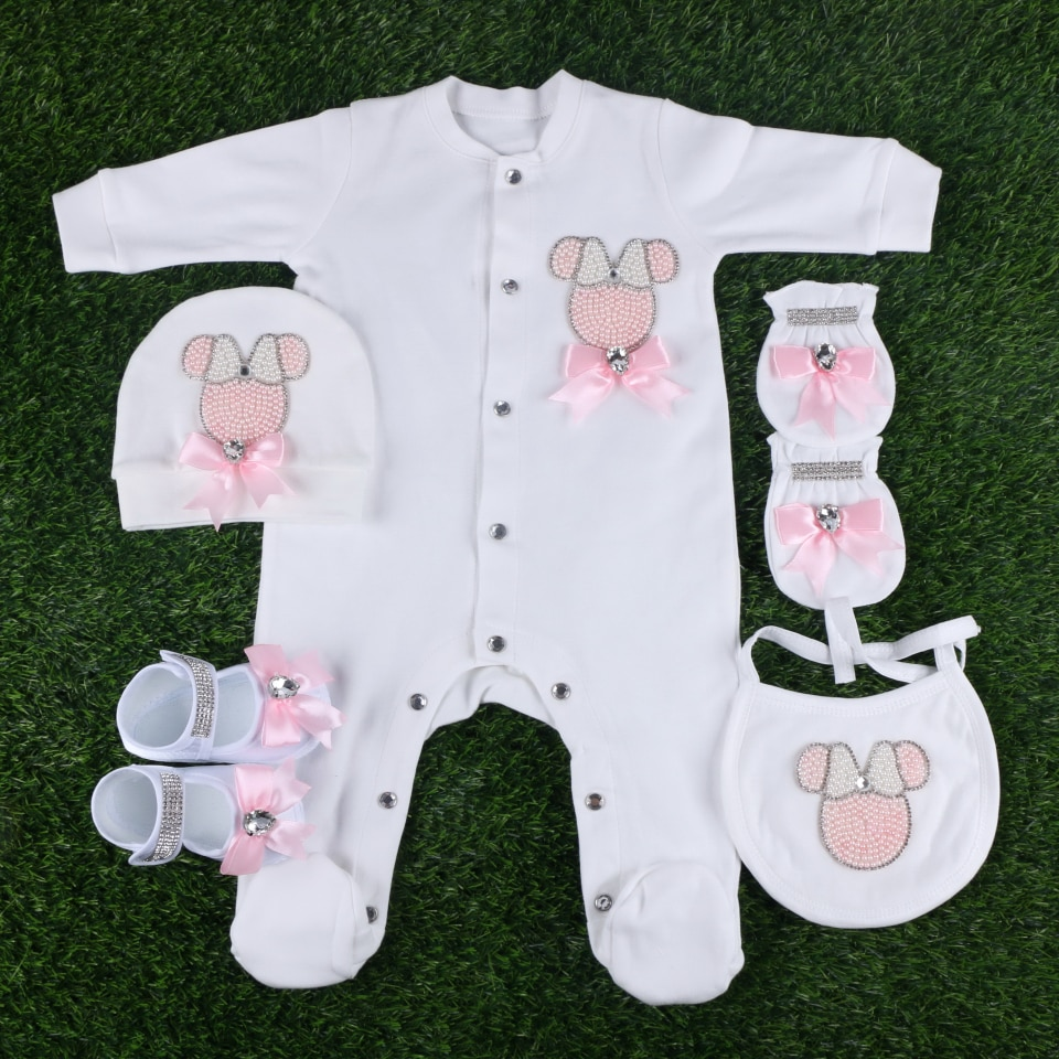 new design cartoon pattern beaded with crystal bowknot handmade for 0-3 months baby infant footies clothes set rompers gift