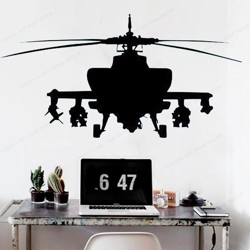 Calcomanía de vinilo para pared helicóptero ejército para pared de dormitorio de niño pegatina extraíble para el hogar arte mural JH293